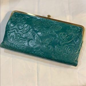Hobo Lauren wallet - turquoise embossed leather